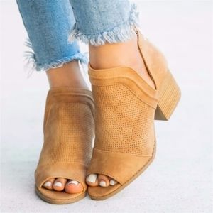 Shoes - PEEP TOE Love Bootie - TAN
